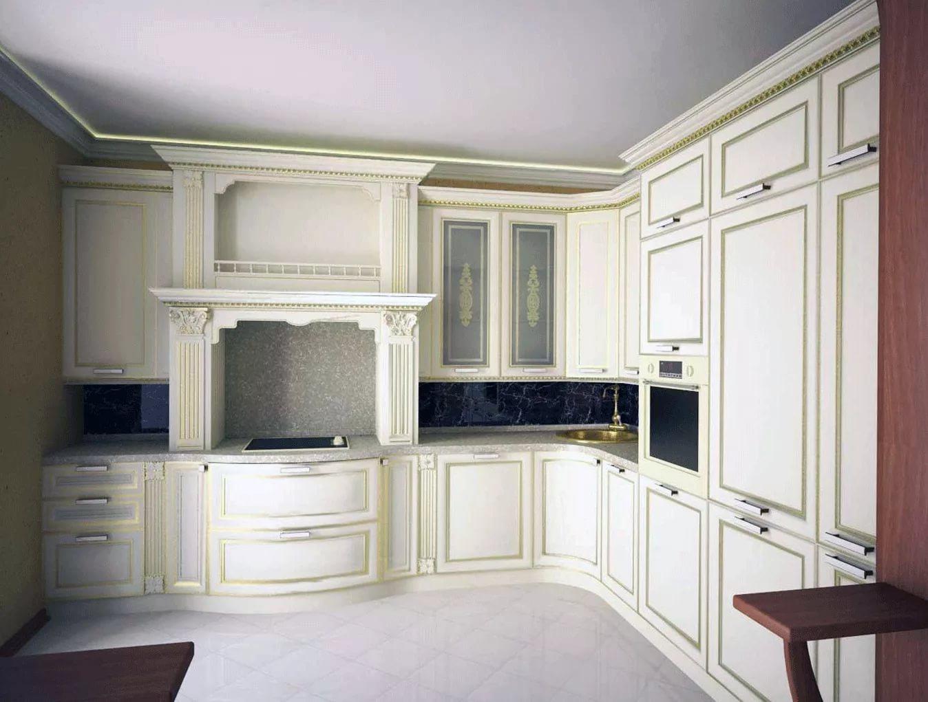 Угловая планировка на кухне 10 кв.м. в классическом стиле
