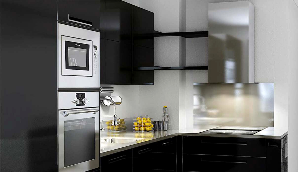 Хай-тек в офрмлении кухни 10 кв.