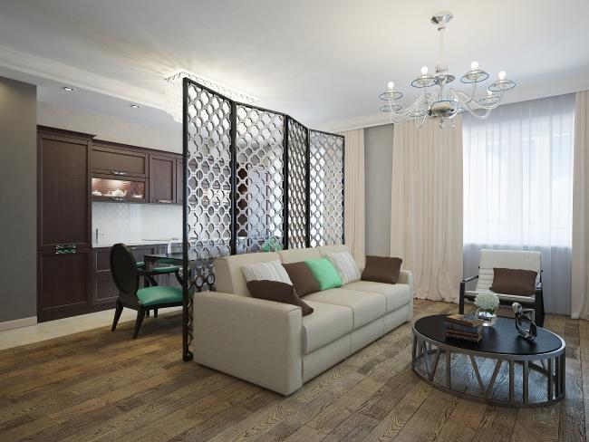 Ширмы в интерьере трехкомнатной квартиры