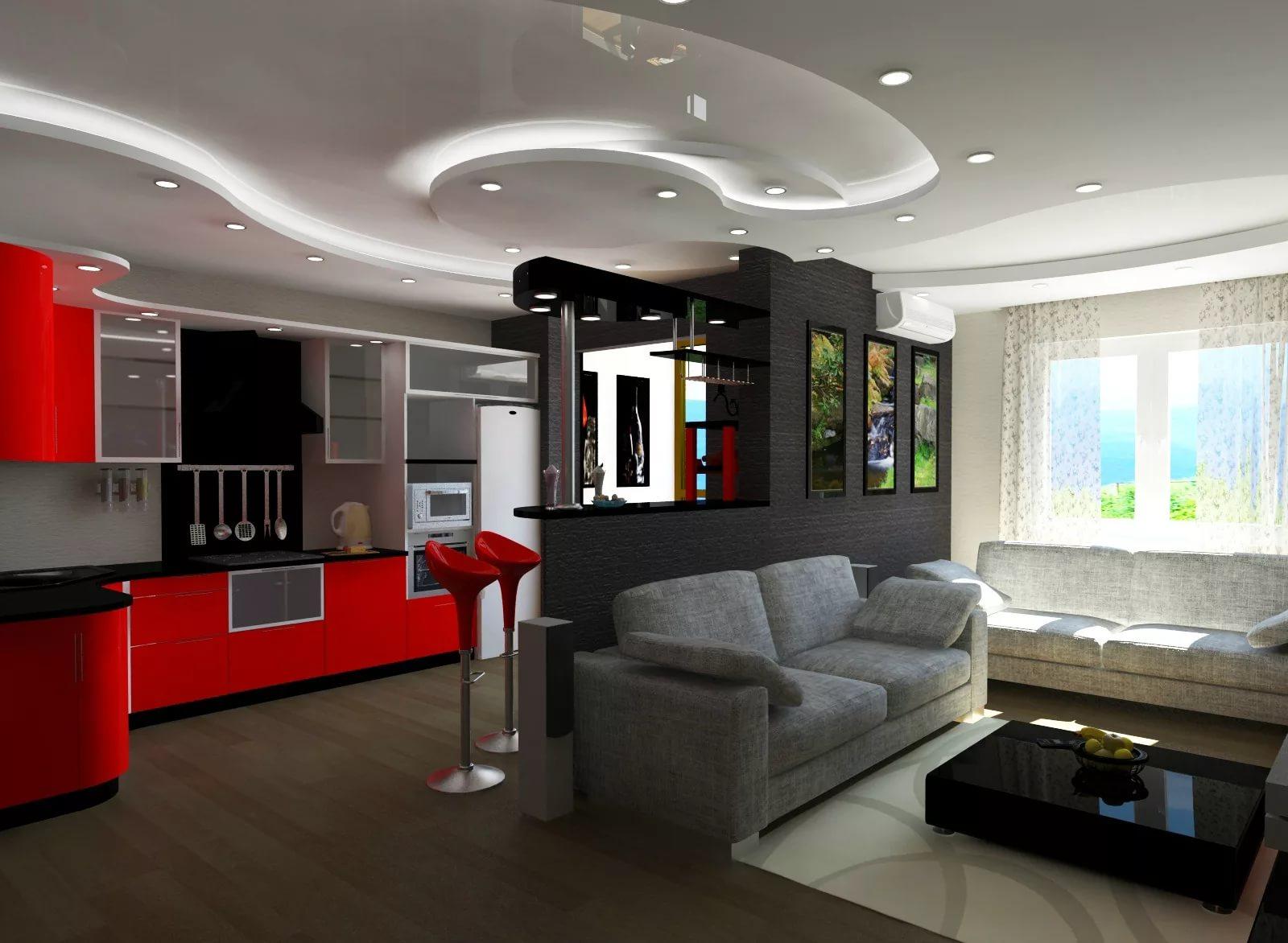 Шкафы на кухне в квартире студии